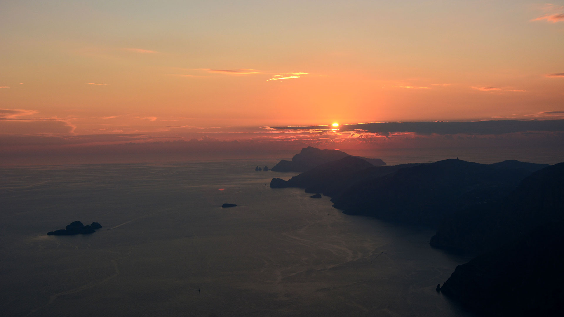 The magic of the sunset on Capri Island and Sorrento Peninsula